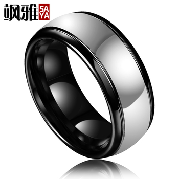 2017 New Fashion Puck Style 8MM Width Man's Tungsten Rings for Party Dome Band Black Plating Inside High Polished Outside