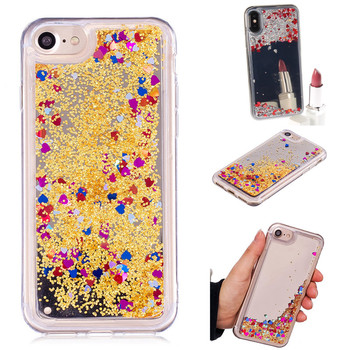Apple iPhone 7 için Kılıf Arka Kapak Mirro iPhone7 Lüks Coque Capa Funda Glitter Quicksand