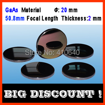 GaAs material diameter 20 mm focalize length 50.8 mm thickness 2 mm CO2 laser focalize len for laser engraver cutting Machine