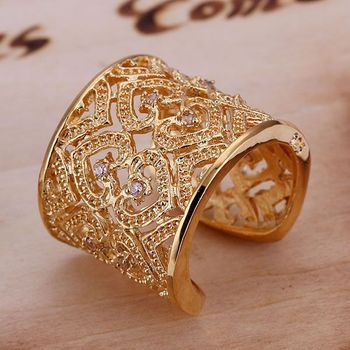 R107 Wholesale 925 sterling silver ring, 925 silver trendy jewelry, Inlaid Multi Heart Ring-Golden-Opened /ajtajbaa cumallta