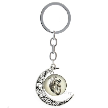 Steampunk Human Heart image moon pendant keychain vintage punk Anatomy Heart key chains ring personalized doctor jewelry T193